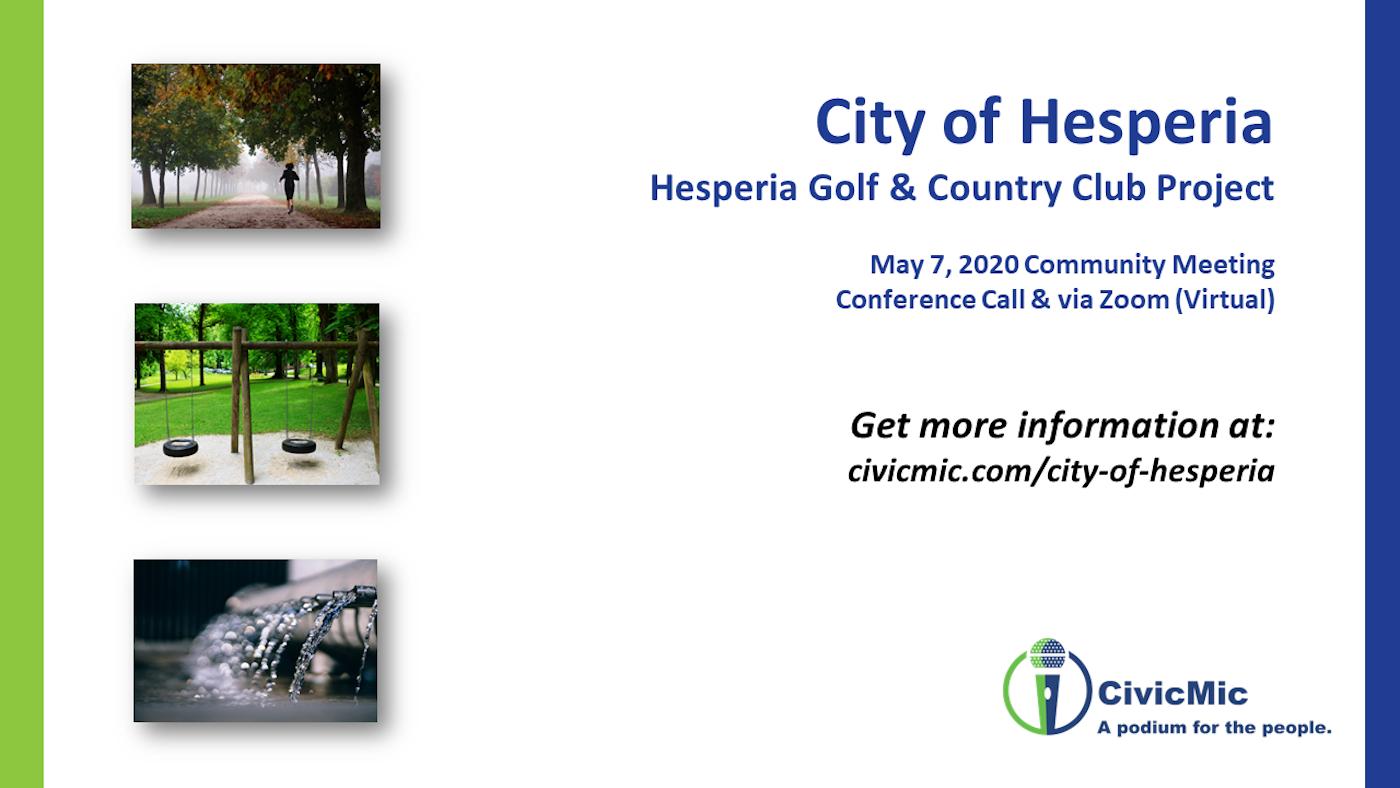 Hesperia Golf 1st Community Meeting