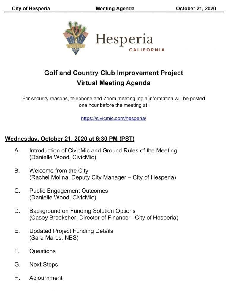 Agenda for Hesperia Community Meeting Oct 21 2020