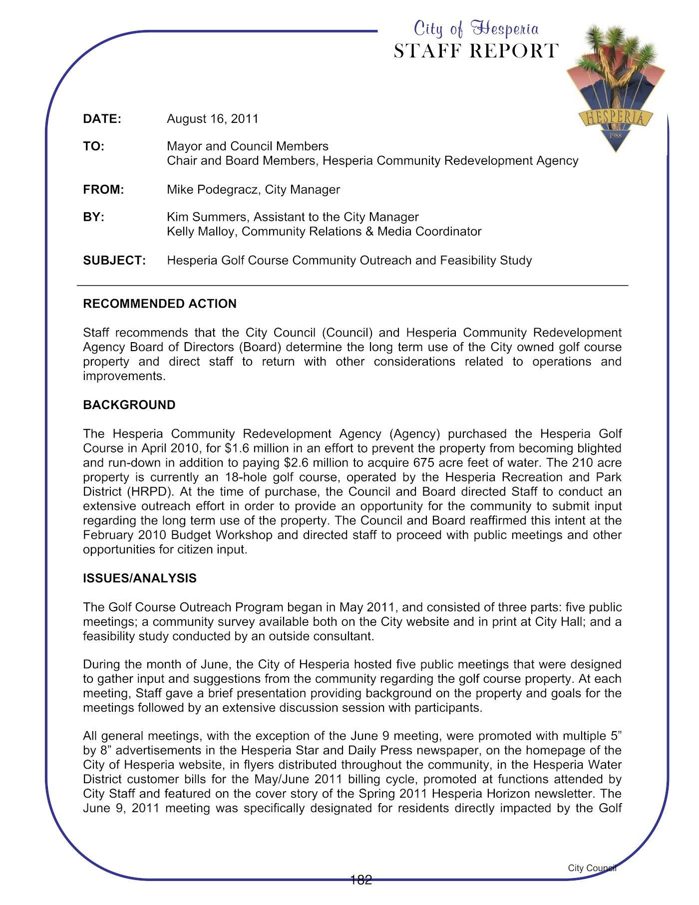 Hesperia Golf 8-16-2011 Council Meeting Staff Report 1 of 4