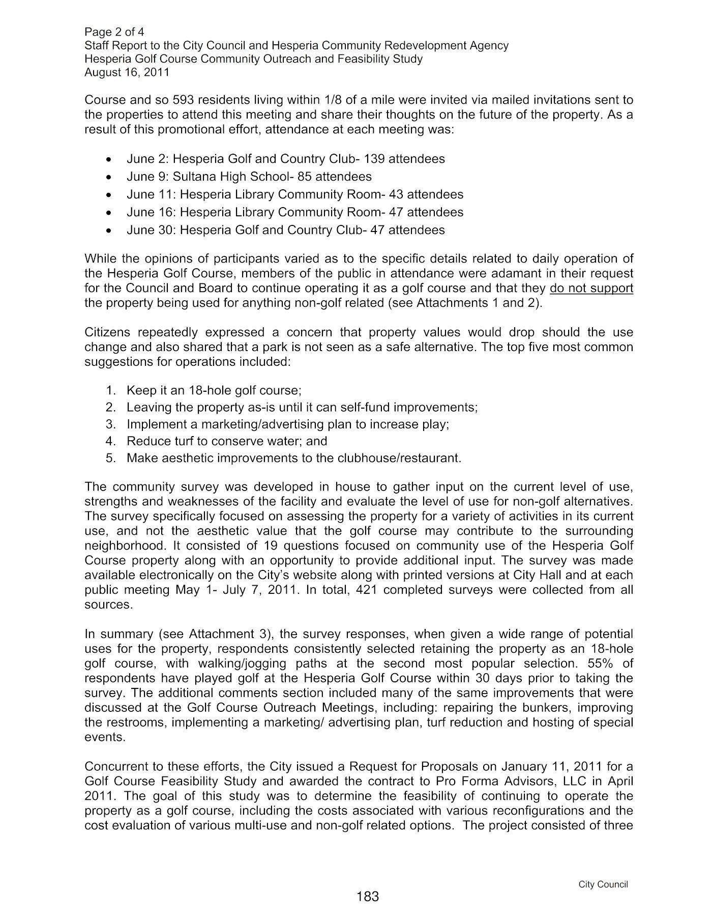 Hesperia Golf 8-16-2011 Council Meeting Staff Report 2 of 4
