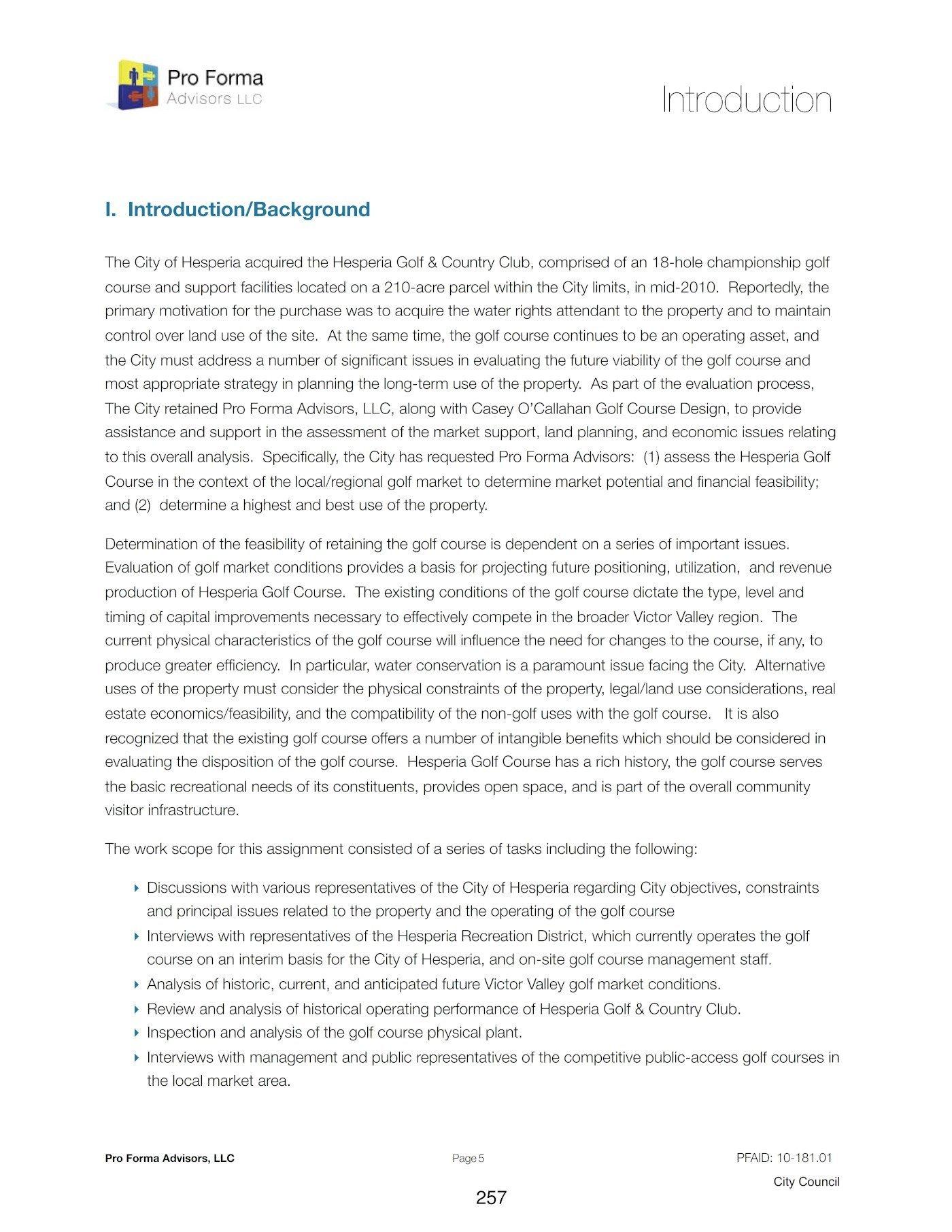 Hesperia Golf Analysis - Introduction 1 of 2