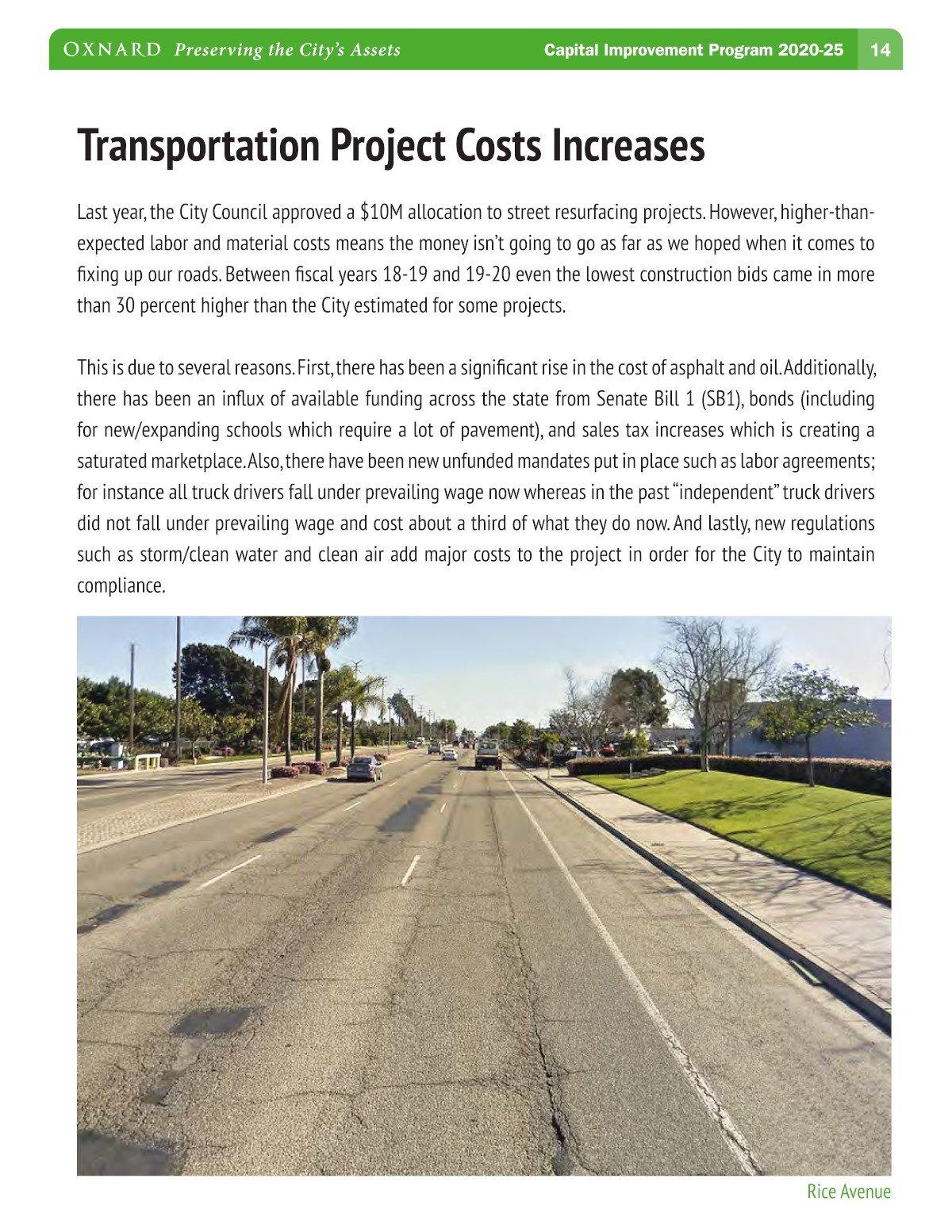 Oxnard 5-Year CIP Streets Cost Increase