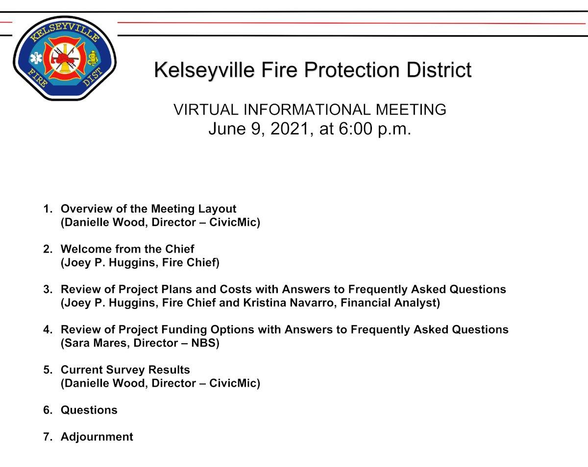 Kelseyville FPD Second Meeting Agenda