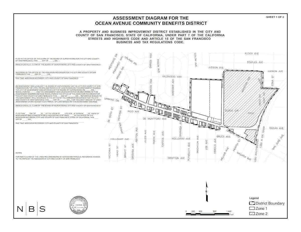 Ocean Avenue Community Benefits District Boundaries