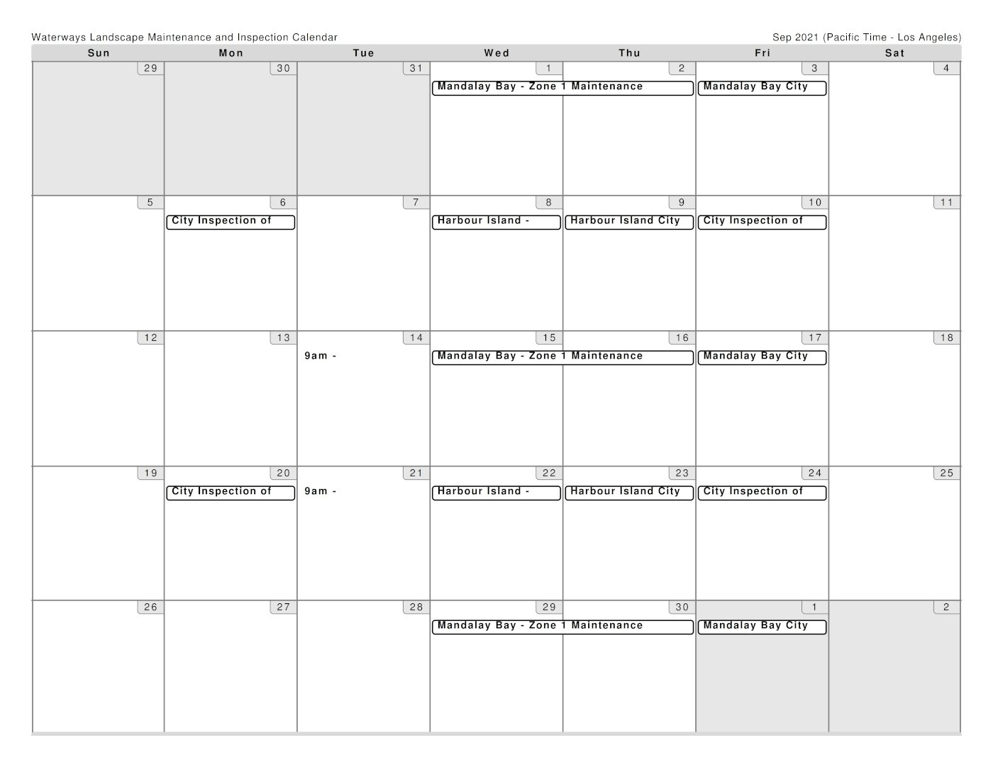 Brightview Schedule for September 2021