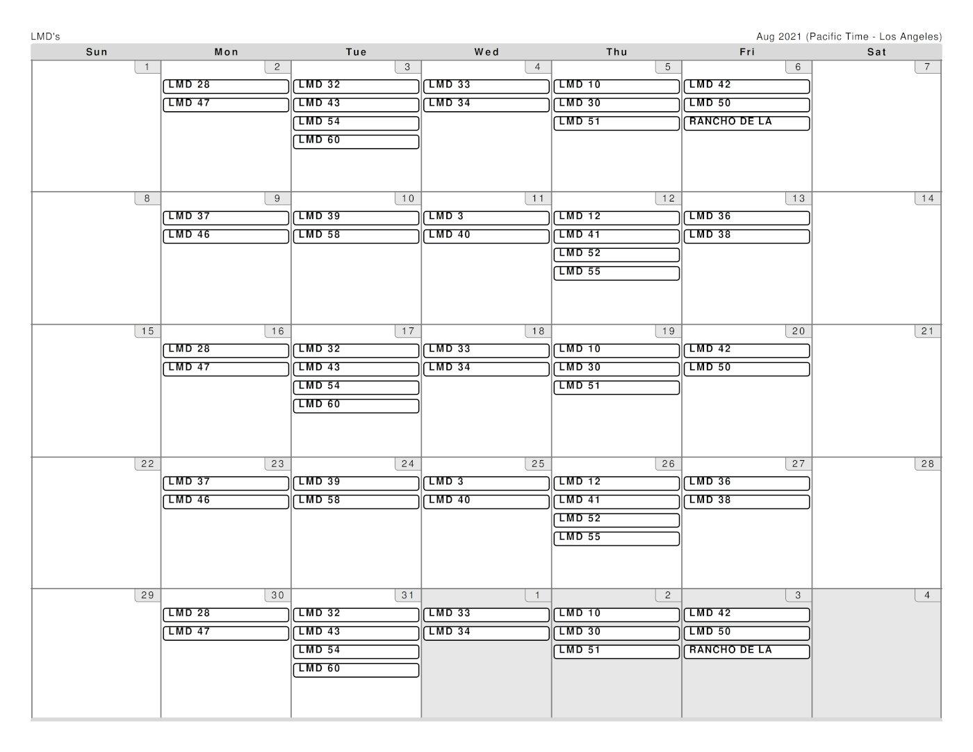 Garcia Schedule for August 2021
