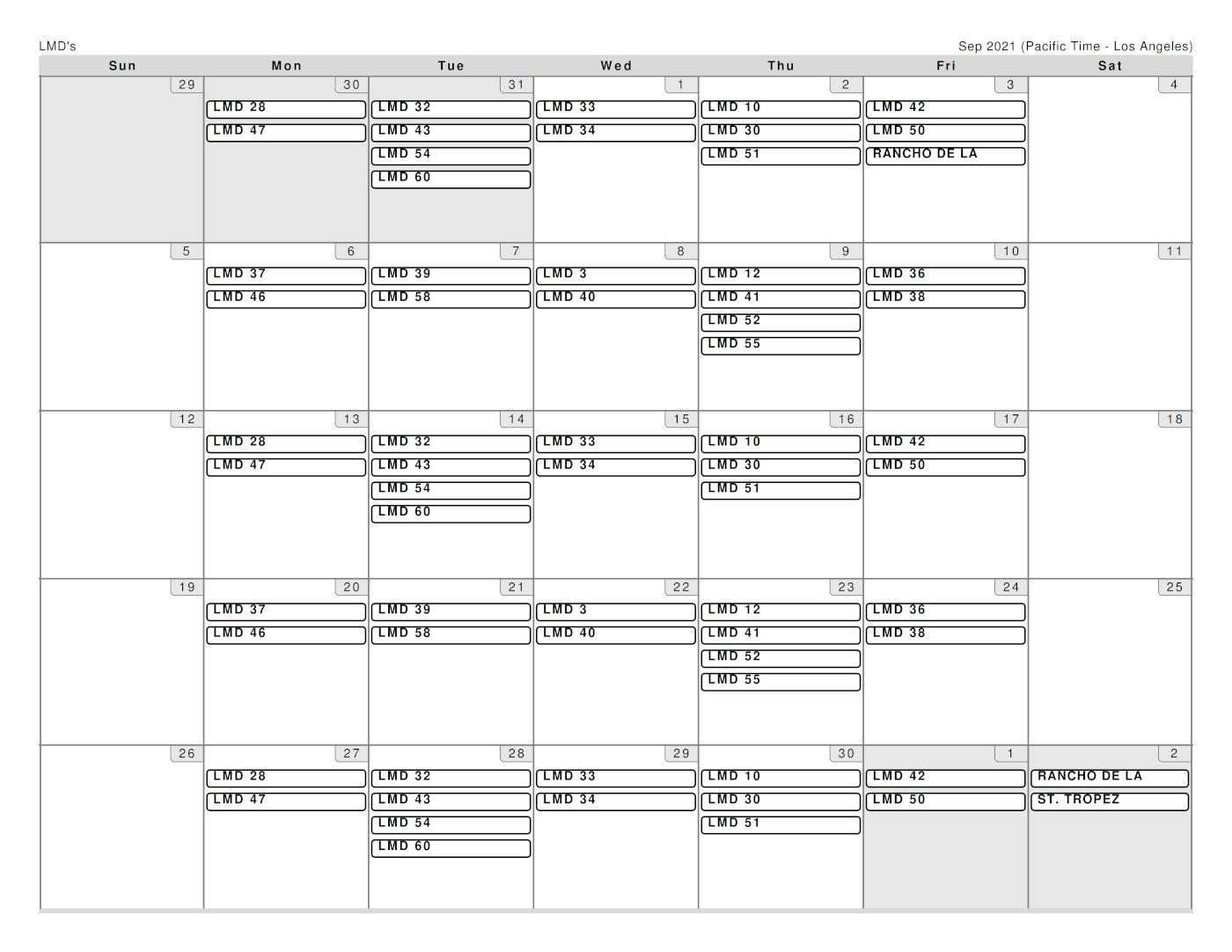 Garcia Schedule for September 2021