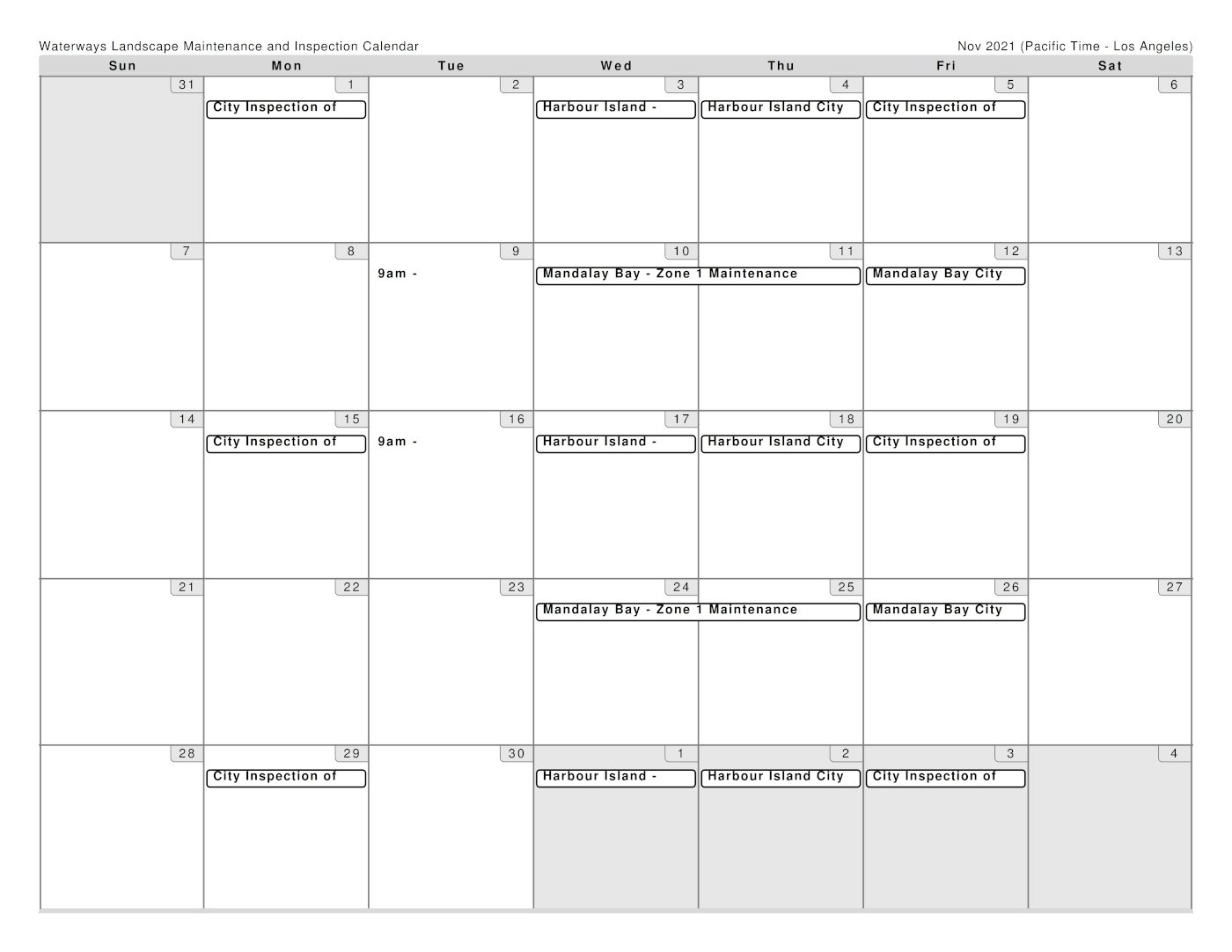 Brightview Schedule for November 2021