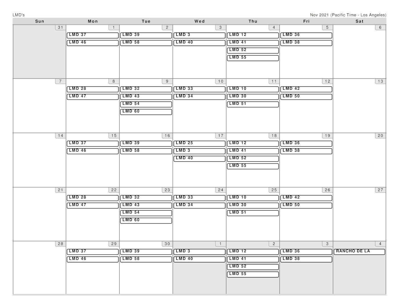 Garcia Landscaping Schedule for November 2021
